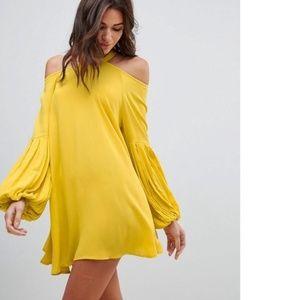 Free People Drift Away Yellow Tunic/Mini Dress XS
